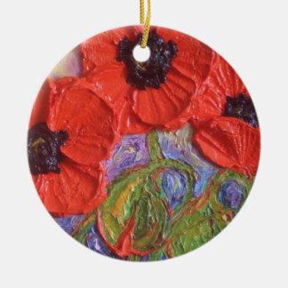 Paris Red Poppies Ornament