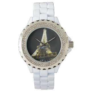 Paris Rhinestone White Enamel Watch