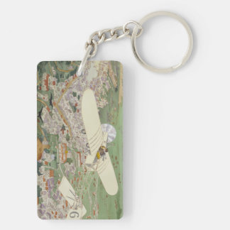 Paris-Rome Monoplane Beaumont Le Gagnant Bleriot Double-Sided Rectangular Acrylic Key Ring