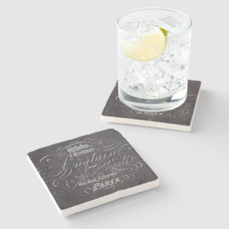 Paris rustic country chalkboard French Scripts Stone Coaster