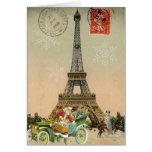 Paris Santa and Snowman Christmas Card