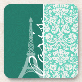 Paris; Seafoam Green Damask Drink Coasters