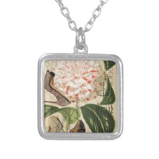paris shoes floral french botanical art square pendant necklace