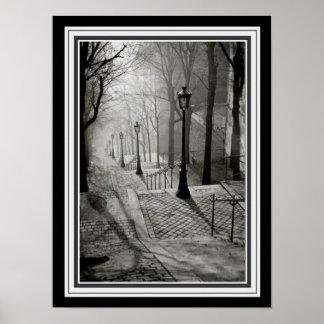 Paris Sidewalk 1936 B&W Photograph Poster