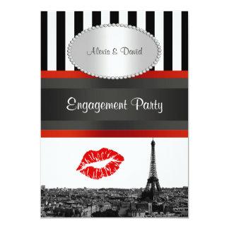 Paris Skyline BW Stripe Red Kiss PV Engagement Card