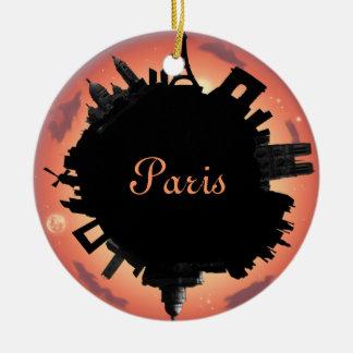 Paris skyline evening Double-Sided ceramic round christmas ornament