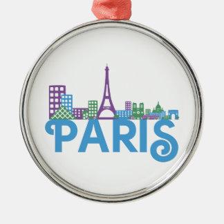 Paris Skyline Silver-Colored Round Decoration