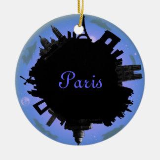 Paris skyline violet  evening Double-Sided ceramic round christmas ornament