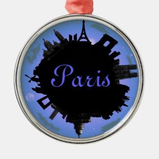 Paris skyline violet evening Silver-Colored round decoration