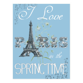 Paris Spring Love Art Postcard