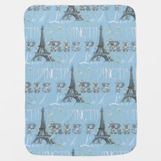 Paris Spring Love Blue Baby Blanket