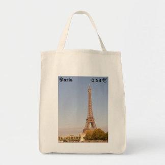 Paris Stamp Grocery Tote Bag