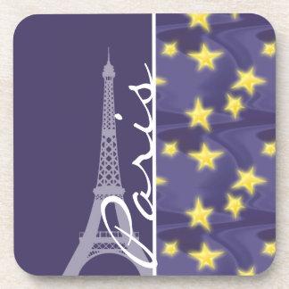 Paris Starry Night; Eiffel Tower Beverage Coasters