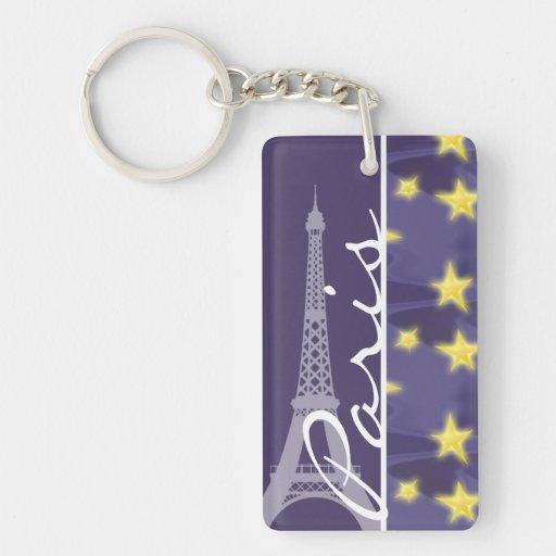 Paris Starry Night; Eiffel Tower Acrylic Keychains