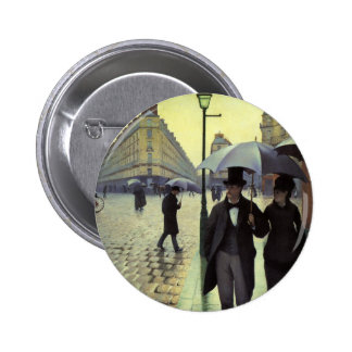 Paris Street Rainy Day by Caillebotte, Vintage Art 6 Cm Round Badge