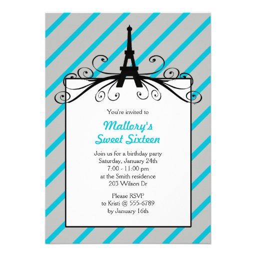 Paris Sweet 16 Party Invitations in Aqua