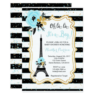 Paris Theme Baby Shower Invitation- Blue Card