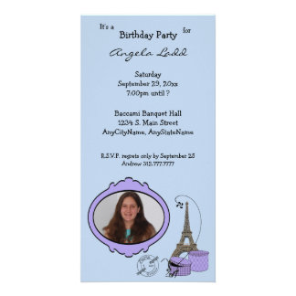 Paris Themed Photo Party Invitation Customised Photo Card