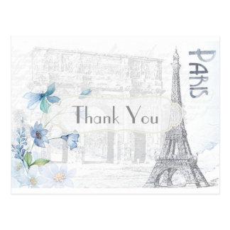 Paris Themed Thank You Postcard