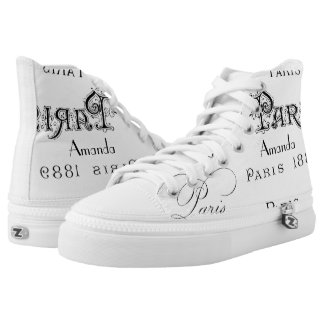 Paris Themed Vintage Personalized High Tops
