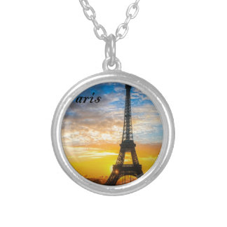 Paris Tour Eiffel in Sunset (St.K) Silver Plated Necklace