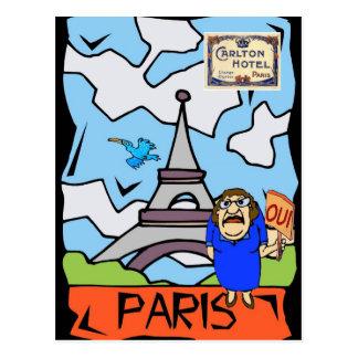 Paris Travel Cartoon Postcard