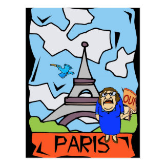 Paris Travel Cartoon Postcard