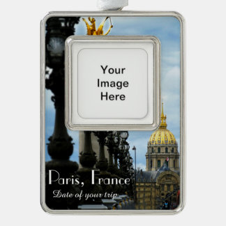 Paris Travel Christmas Ornament Customizable Silver Plated Framed Ornament