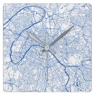 Paris urban Pattern Clock BLUE