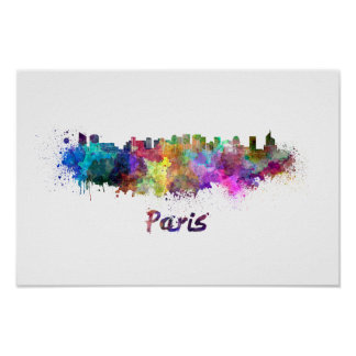 Paris V2 skyline in watercolor Poster