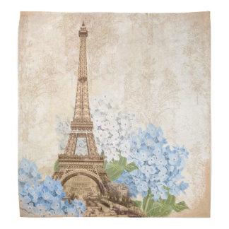 Paris Vintage Blue Hydrangea Bandana