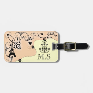 Paris vintage chic girly chandelier luggage tag