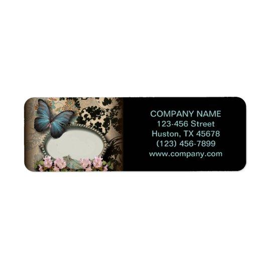 Paris vintage floral butterfly SPA beauty salon Return Address Label