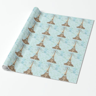Paris Vintage French Vines Aqua Wrapping Paper