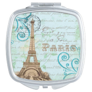 Paris Vintage French Writing Aqua Compact Mirror