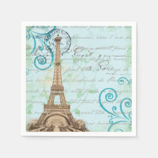 Paris Vintage French Writing Aqua Napkins Disposable Serviettes