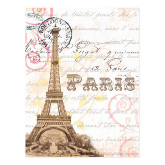Paris Vintage French Writing Pink Postcard