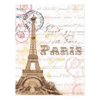 Paris Vintage French Writing Pink Postcard