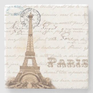 Paris Vintage French Writing Stone Coaster