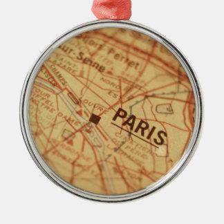 PARIS Vintage Map Round Metal Christmas Ornament