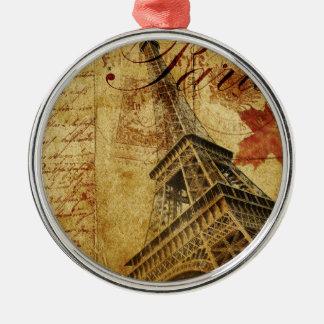 Paris vintage poster. Silver-Colored round decoration