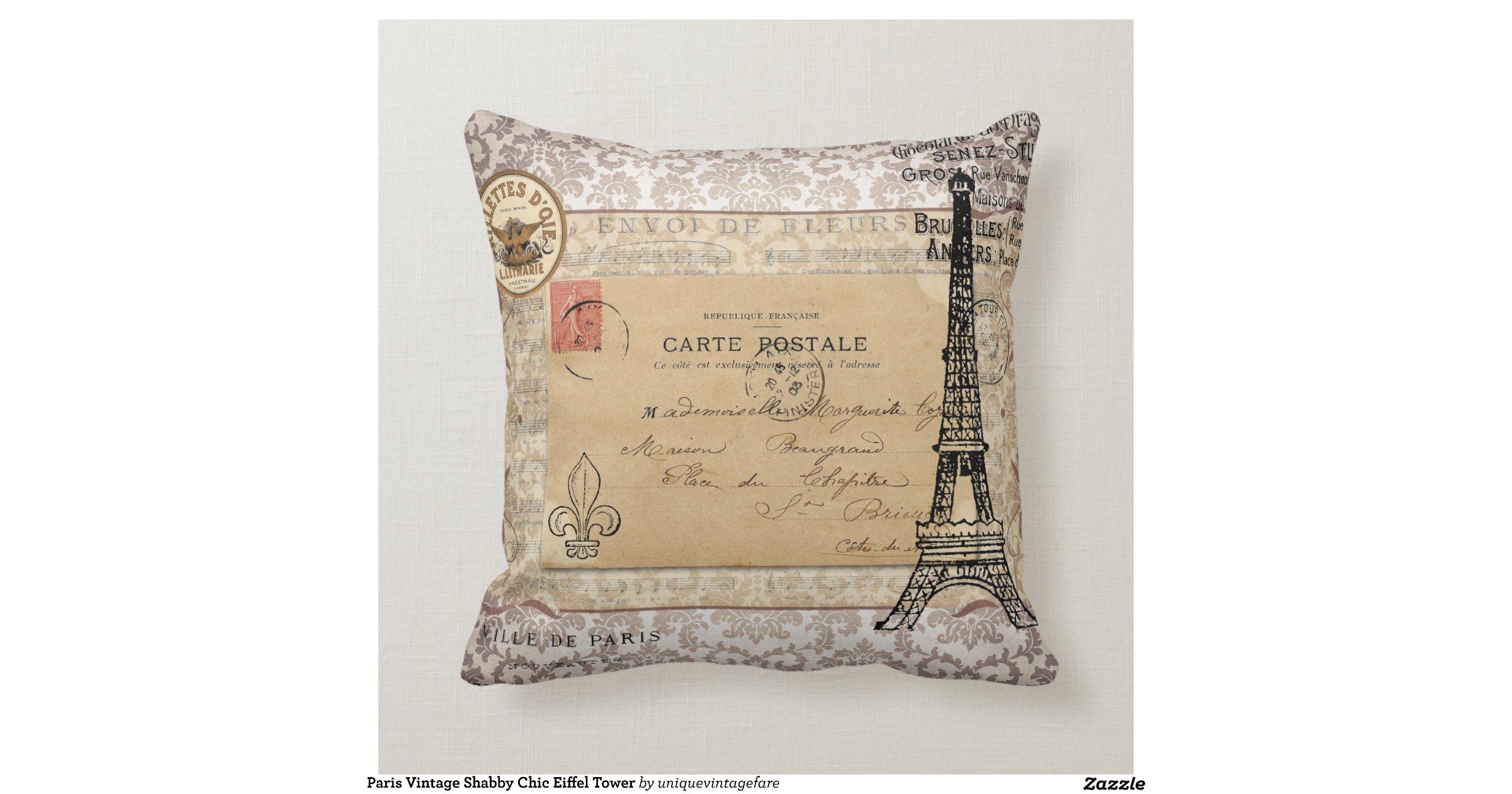 paris vintage shabby chic eiffel tower throw cushions zazzle. Black Bedroom Furniture Sets. Home Design Ideas