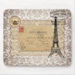 Paris Vintage Shabby Chic Eiffel Tower Mouse Pad