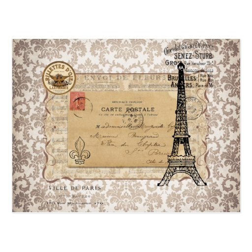 Paris Vintage Shabby Chic Eiffel Tower Post Cards