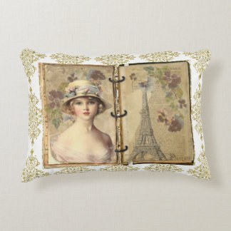 Paris Vintage Woman Journal Gold Filigree Pillow