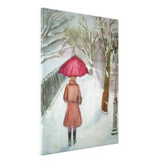 Paris Walk in the Snow Canvas Prints