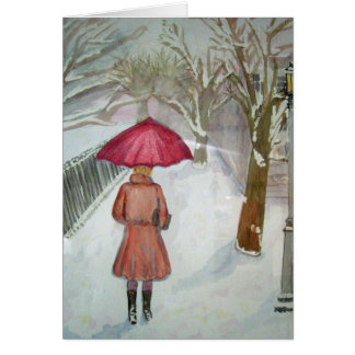 Paris Walk in the Snow Card