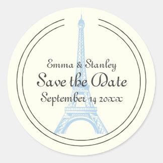 Paris wedding blue Eiffel Tower Save the Date Round Sticker