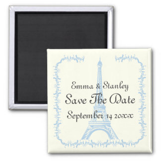 Paris wedding blue Eiffel Tower Save the Date Square Magnet