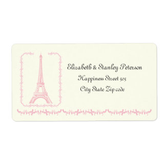 Paris wedding pink Eiffel Tower ivory label